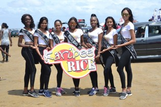 Delegates of Miss Earth Guyana 2019 at No. 63 Beach on Easter Monday.