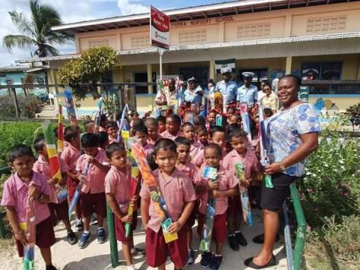 Parika Nursery School Children with their kites.