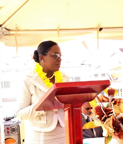 Minister of Education, Dr. the Hon. Nicolette Henry delivering remarks at the commissioning ceremony.