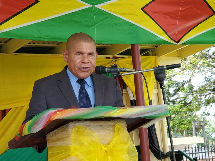 Minister of Social Cohesion, with responsibility for Culture, Youth and Sport, Dr. George Norton addressing the gathering.