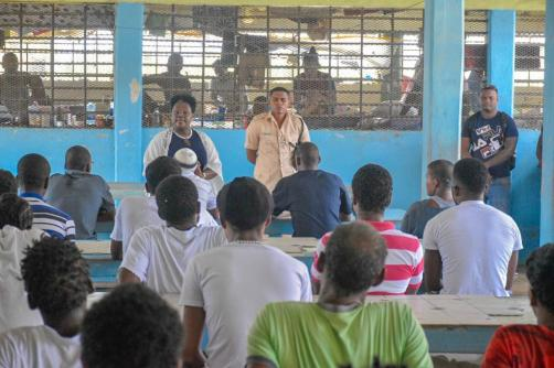 Minister within the Ministry of the Presidency, with responsibility for Youth Affairs, Simona Broomes addressing the young inmates of the Timheri Prison