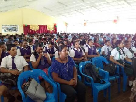 An intrigued audience at the Youth Department's Prepared Speech competition.