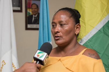 Chairperson of the Maria Elizabeth Small Loggers and Farmers Association speaks with the Department of Public Information (DPI)