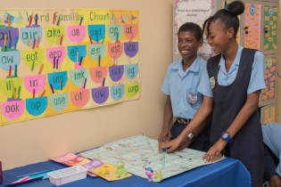 Students in an interactive literacy game.