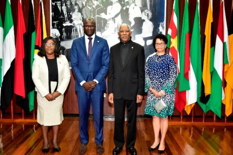 From left to right: Minister of Foreign Affairs, Dr. Karen Cummings; Newly accredited Ambassador of Suriname to Guyana, Mr. Ebu Rohno Jones; President David Granger and Director General of the Ministry of Foreign Affairs, Mrs. Audrey Jardine- Waddell.