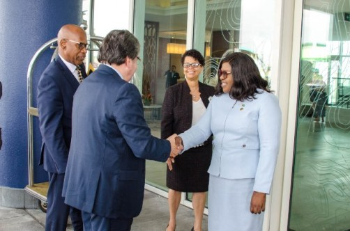 Minister of Foreign Affairs, Dr. Karen Cummings greets Colombian Minister of Foreign Affairs, Carlos Garcia upon his arrival to the Marriot Hotel in Georgetown this morning.