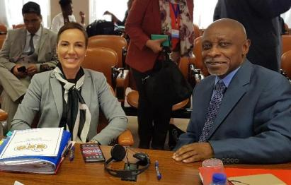 Foreign Secretary at the Ministry of Foreign Affairs, Carl B. Greenidge and Jamaican Minister of Foreign Affairs and Foreign Trade, the Honourable Kamina Johnson Smith.