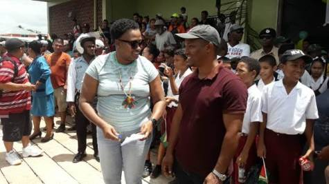 Minister with responsibility for Housing, Anette Fergusons interacts with residents of Mabaruma at the Recommissioning of MV Kimbia Vessel on Wednesday.