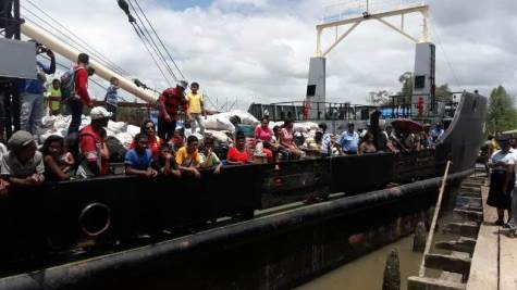 MV Kimbia arriving at Mabaruma, Region 1 carrying 210 passengers and vehicles.