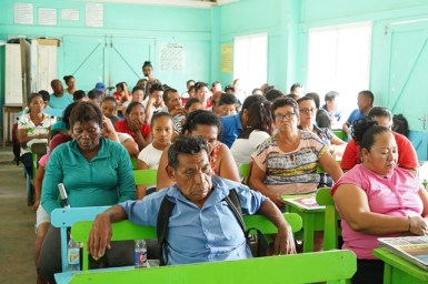 Villagers, councillors and representatives on the final day of consultations.