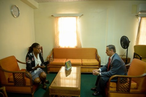 Minister of Public Service, Tabitha Sarabo-Halley during her discussions with Chilean Ambassador to Guyana, Patricio Marshall.