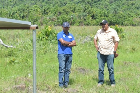 GWI's Managing Director, Dr. Richard Van West-Charles and Director of Hinterland Services, Mr. Ramchand Jailal assessing works in Aranaputa