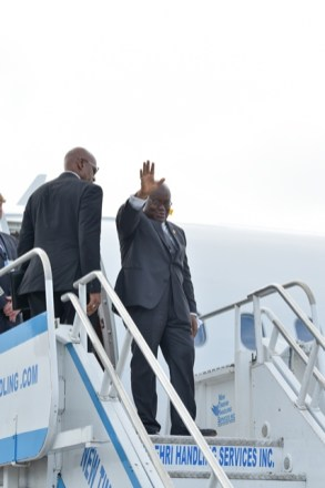 President of the Republic of Ghana, Nana Akufo-Addo waves goodbye from the Cheddi Jagan International Airport (CJIA).