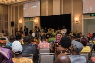 President Nana Akufo-Addo along with members of his visiting delegation during a meeting with the Ghana Diaspora and local representatives from African Organisations.