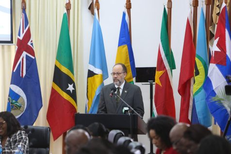 Secretary General of the Caribbean Community (CARICOM), Irwin LaRocque, addresses the opening ceremony of the of the Sixth Meeting of CARICOM and Cuban Foreign Ministers in Georgetown
