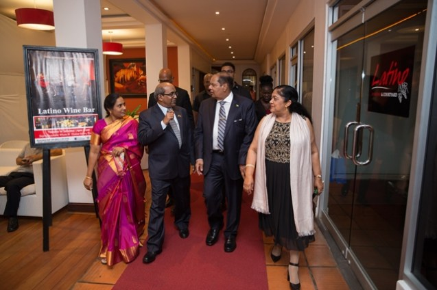 Prime Minister, Moses Nagamootoo and his wife, Mrs. Sita Nagamootoo with outgoing High Commissioner of India to Guyana, Venkatachalam Mahalingam and his wife, Mrs. Mahalingam.