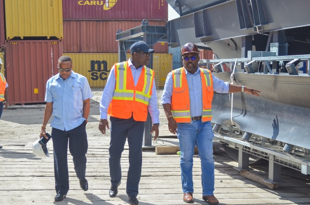 Permanent Secretary of the Ministry of Public Infrastructure, Kenneth Jordan; Minister of Public Infrastructure, Hon. David Patterson; General Manager of the Demerara Harbour Bridge Corporation, Rawlston Adams