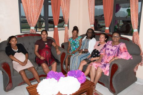 Minister of Public Health the Hon. Volda Lawrence with expectant mothers currently occupying the waiting home