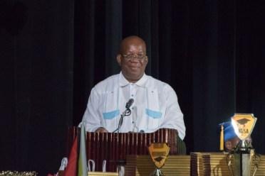 Hon. Winston Jordan, Minister of Finance, speaking at the graduation ceremony.