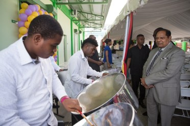 Hon. Moses Nagamootoo, Prime Minister of Guyana enjoying the steel pan music.