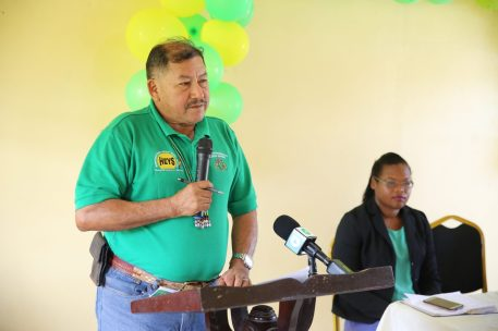 Minister of Indigenous Peoples' Affairs, Hon. Sydney Allicock addressing the youths