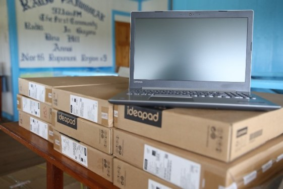 The laptops handed over to the students of Bina Hill Youth Learning Centre.