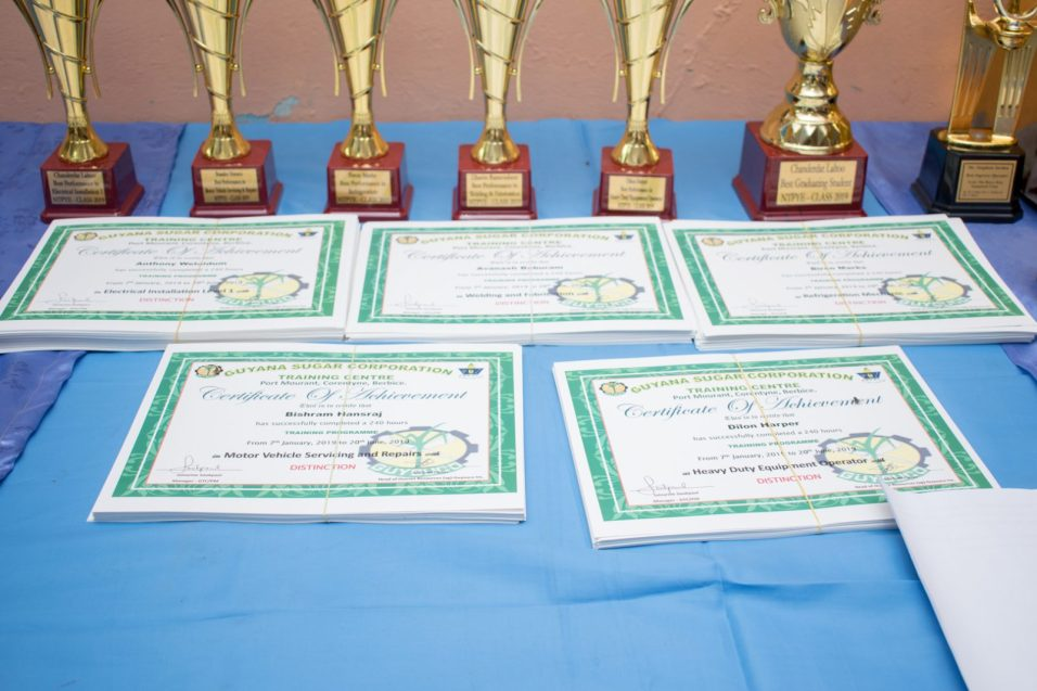 Trophies and certificates that were presented to some of the top achievers