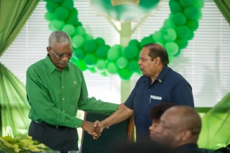 His Excellency, President David Granger and Prime Minister, Hon. Moses Nagamootoo at the birth anniversary luncheon.