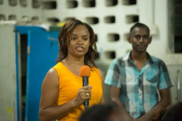 Shirlanda Daniels, a resident of the village of Kuru Kururu who had quite a lot to say about her country during a community meeting held at the Kuru Kururu Annex.