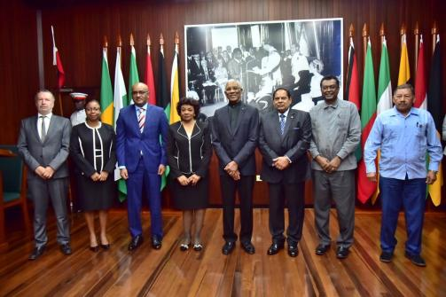 [In the photo, from left] Head of the Diplomatic Corps - His Excellency Lineu Pupo de Paula, Ambassador of the Federative Republic of Brazil to the Cooperative Republic of Guyana, Chief Justice, Roxane George, Leader of the Opposition, Hon. Bharat Jagdeo, newly appointed GECOM chair, Claudette Singh SC, CCH, His Excellency, President David Granger, Prime Minister and First Vice President, Hon. Moses Nagamootoo, Minister of Public Security and Second Vice President, Hon. Khemraj Ramjattan and Minister of Indigenous Peoples' Affairs and Third Vice President, Hon. Sydney Allicock.