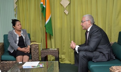 His Excellency, Elkhan Polukhov pays courtesy visit to Minister of State, Hon. Dawn Hastings-Williams.
