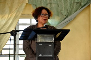 Minister within the Ministry of Indigenous Peoples' Affairs, Hon. Valerie Garrido-Lowe at a community meeting at Stanleytown, Region 3.