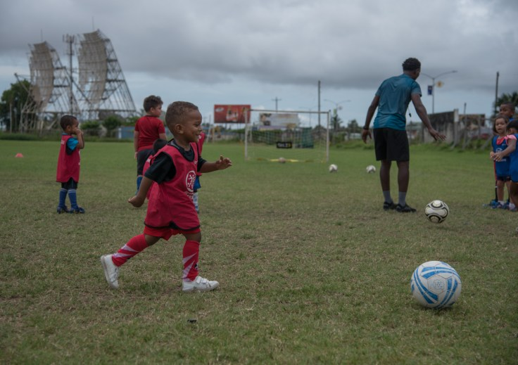 Youths at the football camp