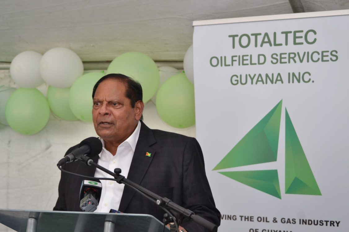 Prime Minister, Hon. Moses Nagamootoo delivering remarks at TOTALTEC Oilfield Services Graduation Ceremony