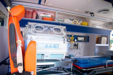 Inside the ambulance.