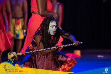 A scene from the Guyana National Drama Company's performance at Drama Night at SAPA in San Fernando, Trinidad during CARIFESTA XIV.