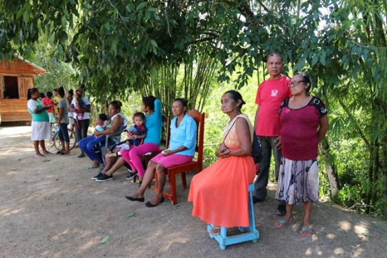 Residents queued up waiting to access health services at an outreach in Kwebanna