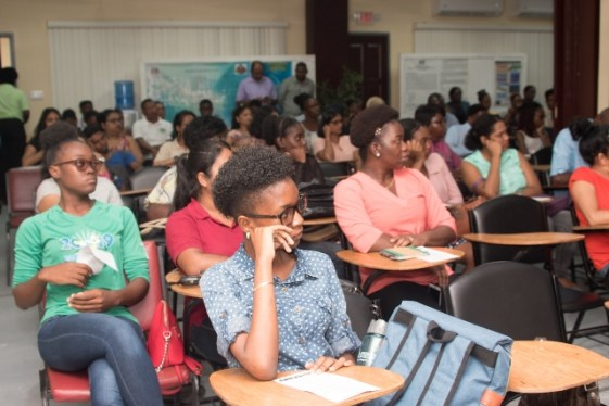 Students at the University of Guyana's Faculty of Earth and Environmental Sciences orientation.