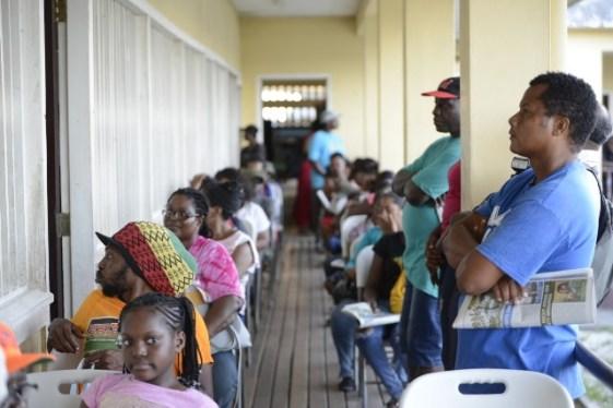 Residents lined the corridor of the Parfaite Harmonie Primary School.