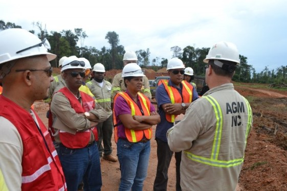 Minister of Natural Resources, Hon. Raphael Trotman and team during a visit to Guyana Gold Fields Incorporated, Aurora Gold Project and Troy Resources, Karouni Project, in Region 7.