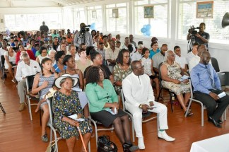 Among the attendees were from left to right- Front row: Mrs. Evelyn Bacchus, the oldest resident of Victoria; Dr. Karen Cummings, Minister of Foreign Affairs; Brigadier (Ret'd) Edward Collins and Mr. Rexford Jackson, Attorney- at-Law.