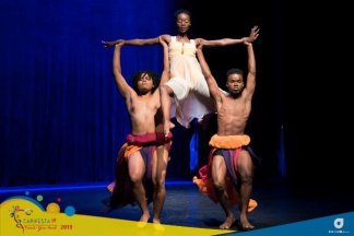 """Dancers from the Guyana delegation performing their piece Decades of Dance"""" choreographed by Vivienne Daniels at the Queens Hall theatre in Trinidad for CARIFESTA XIV's Dance Showcase."""