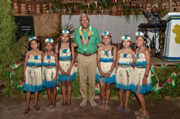 President David Granger and some of the children of St. Cuthbert's Mission who performed a dance during Heritage 2019 celebrations.