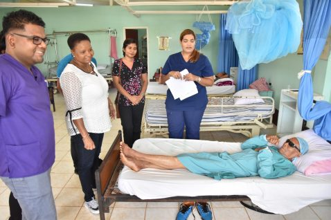 Minister of a Public Health, Hon. Volda Lawrence visiting patients who were prepped for surgery