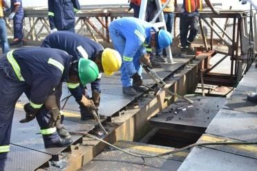 Emergency repair works being carried out on the Demerara Harbour Bridge.