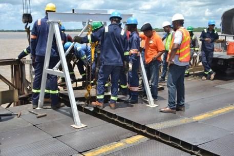 Works progressing on the Demerara Harbour Bridge