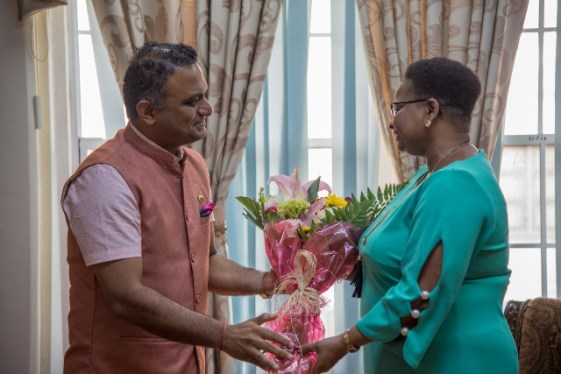 [In the photo, from left to right] High Commissioner of India to Guyana, H.E Dr. K.J. Srinivasa and Minister of Public Health, Hon. Volda Lawrence.