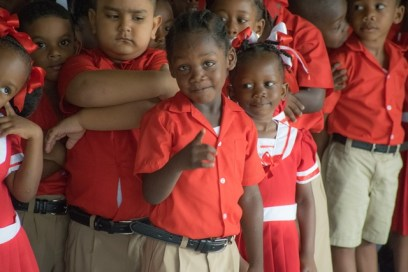 Some of the little ones from Savannah Park Nursery School on the first day of school.
