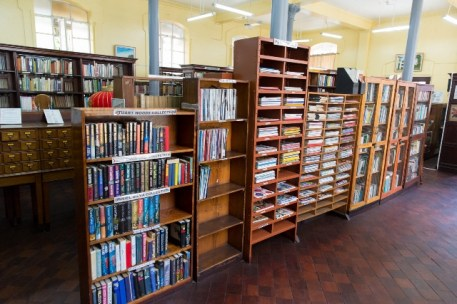 Books available for persons to read at the National Library.