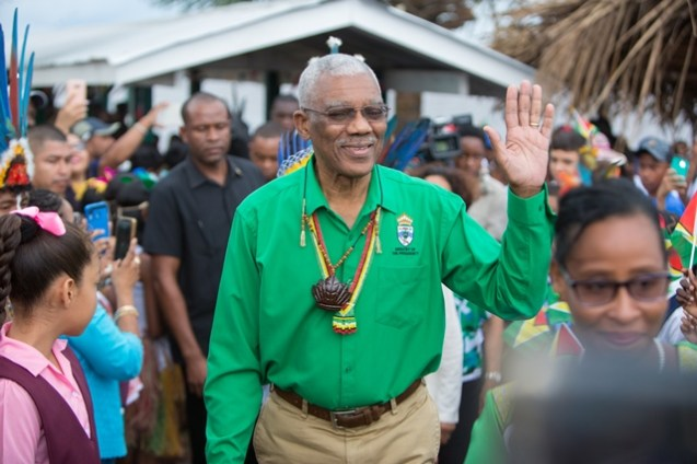 President David Granger as he arrived at the River's View Village